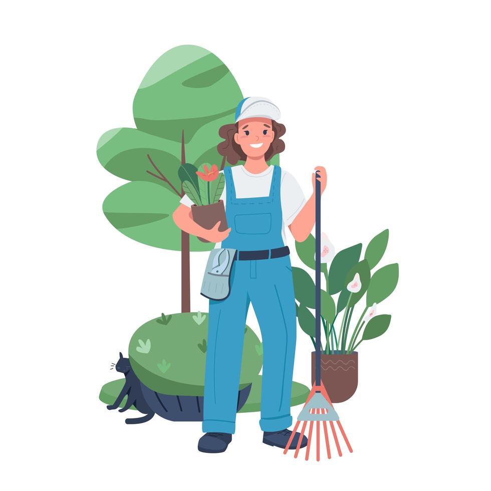 vrouw tuinarchitect egale kleur vector gedetailleerd karakter