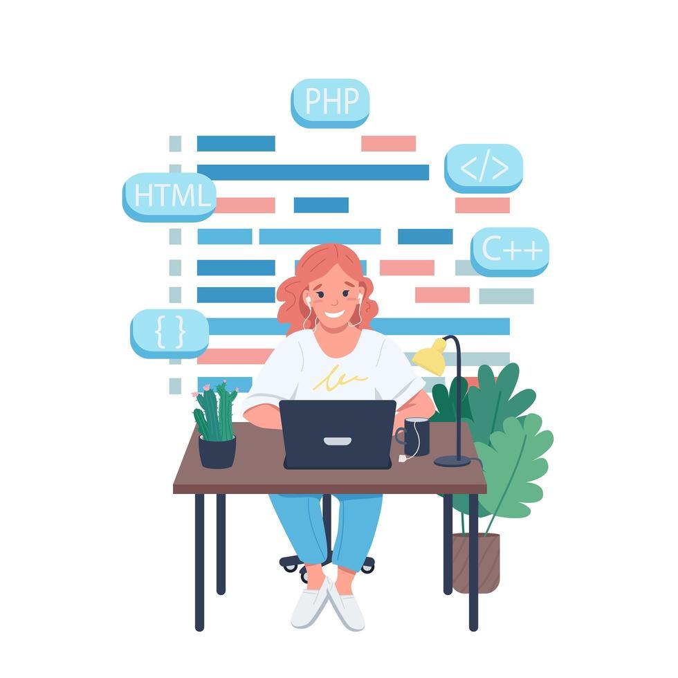 vrouwelijke programmeur egale kleur vector gedetailleerd karakter