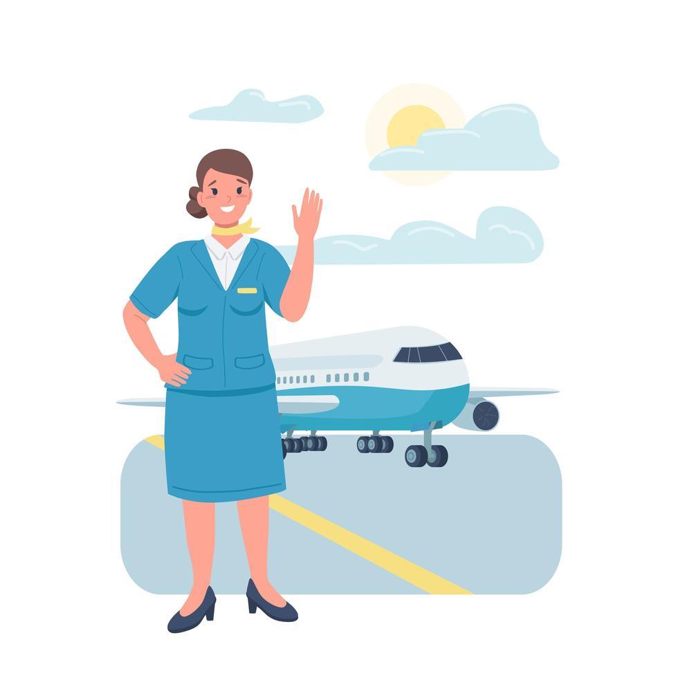 vrouw stewardess egale kleur vector gedetailleerd karakter