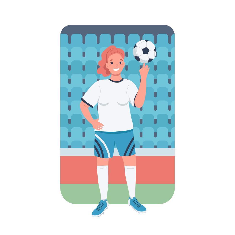 vrouw voetballer egale kleur vector gedetailleerd karakter