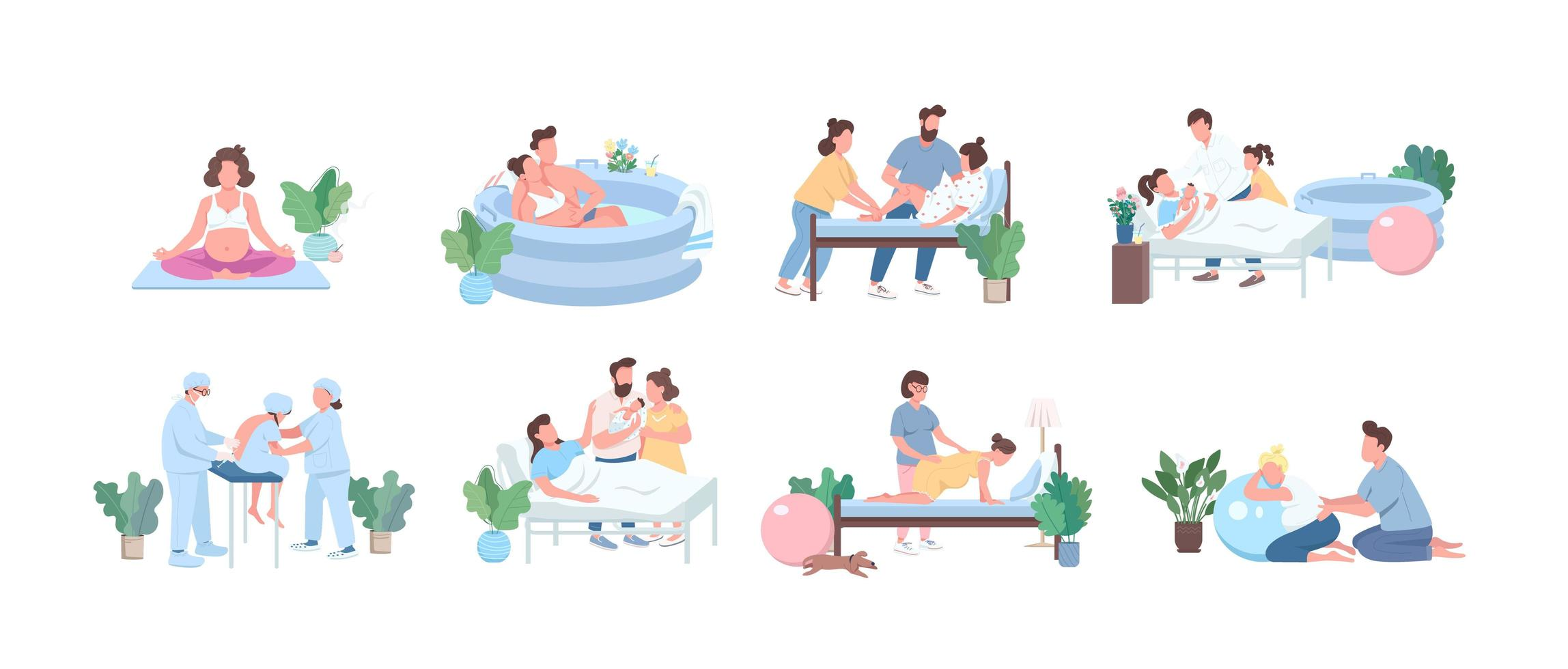 alternatieve geboorte egale kleur vector gezichtsloze tekenset