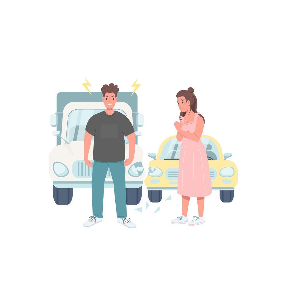 beschadigde automobilisten egale kleur vector gezichtsloos karakter