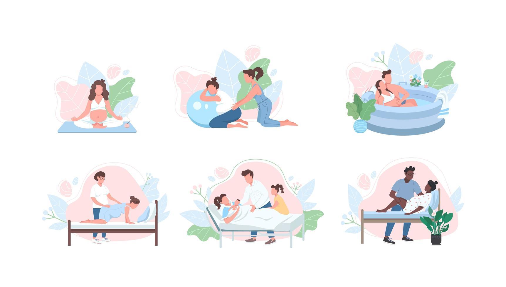 prenatale zorg egale kleur vector gezichtsloze tekenset