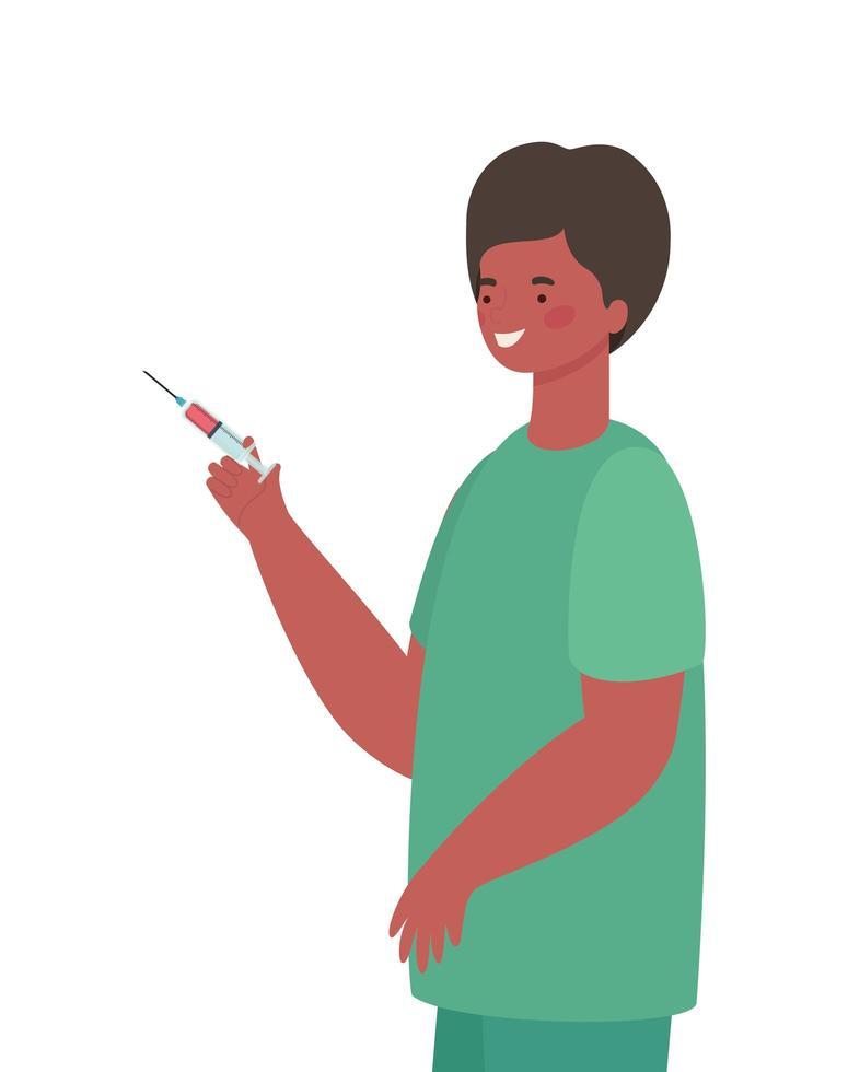 man arts met uniform en injectie vector ontwerp