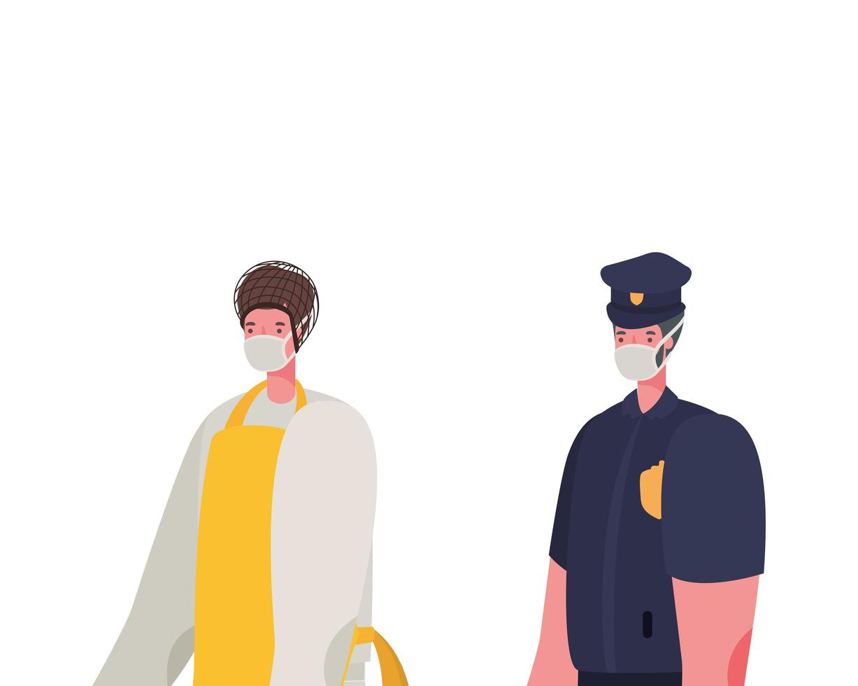 mannelijke kok en politieman met maskers vectorontwerp vector