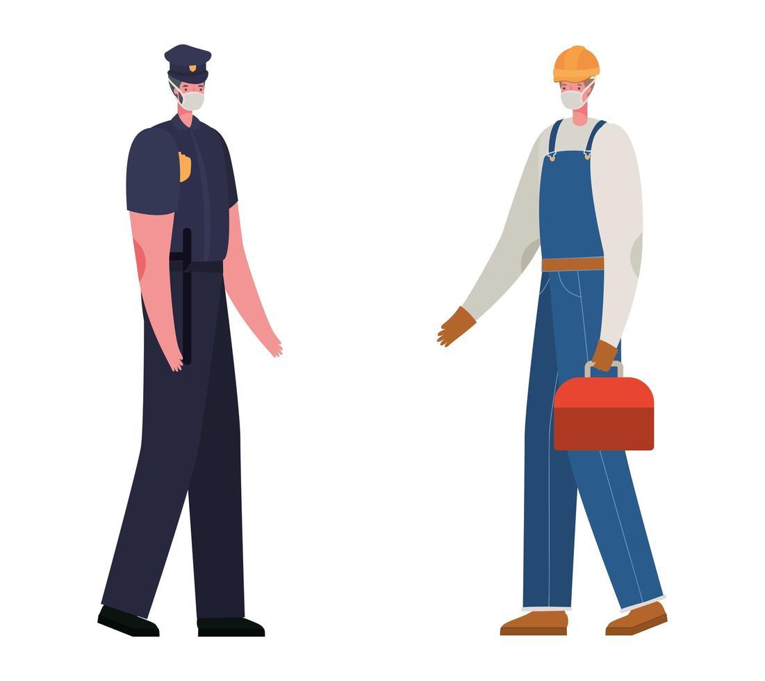 mannelijke constructeur en politie met maskers vectorontwerp vector