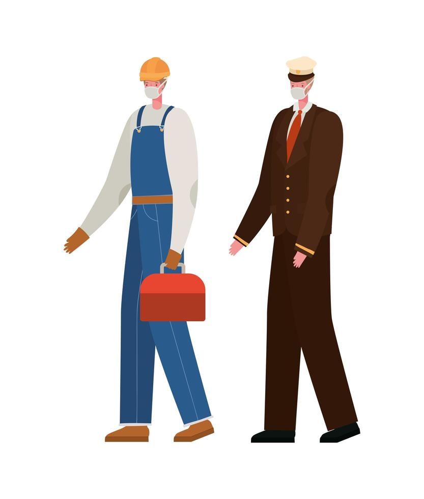 mannelijke constructeur en kapitein met maskers vector ontwerp