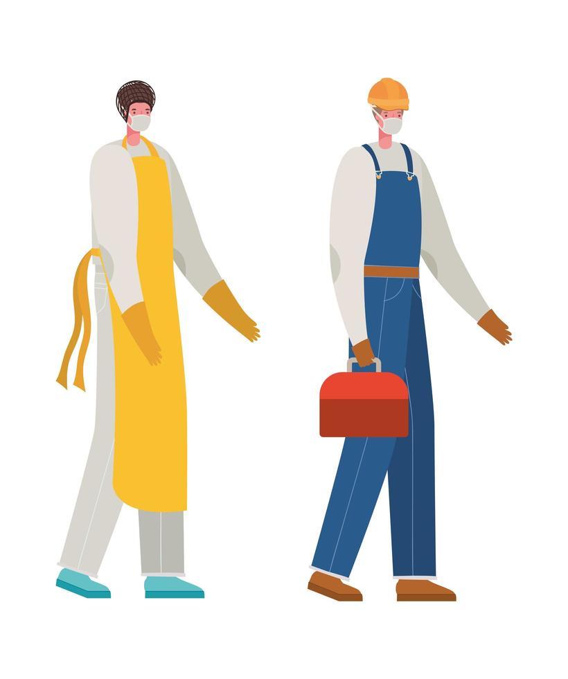 mannelijke kok en constructeur met maskers vectorontwerp vector