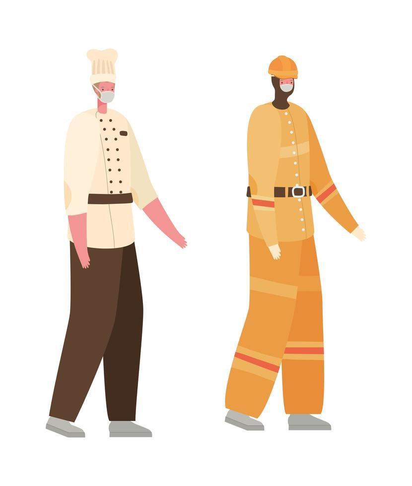 mannelijke constructeur en chef-kok met maskers vector ontwerp