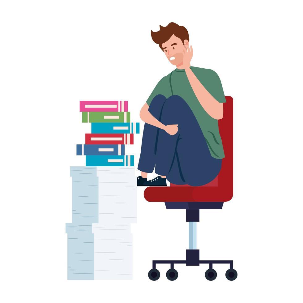 nerveuze man zittend op een stoel met veel werk te doen vector