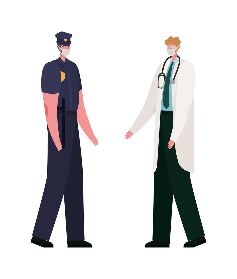 geïsoleerde mannelijke arts en politieman met maskers vectorontwerp vector
