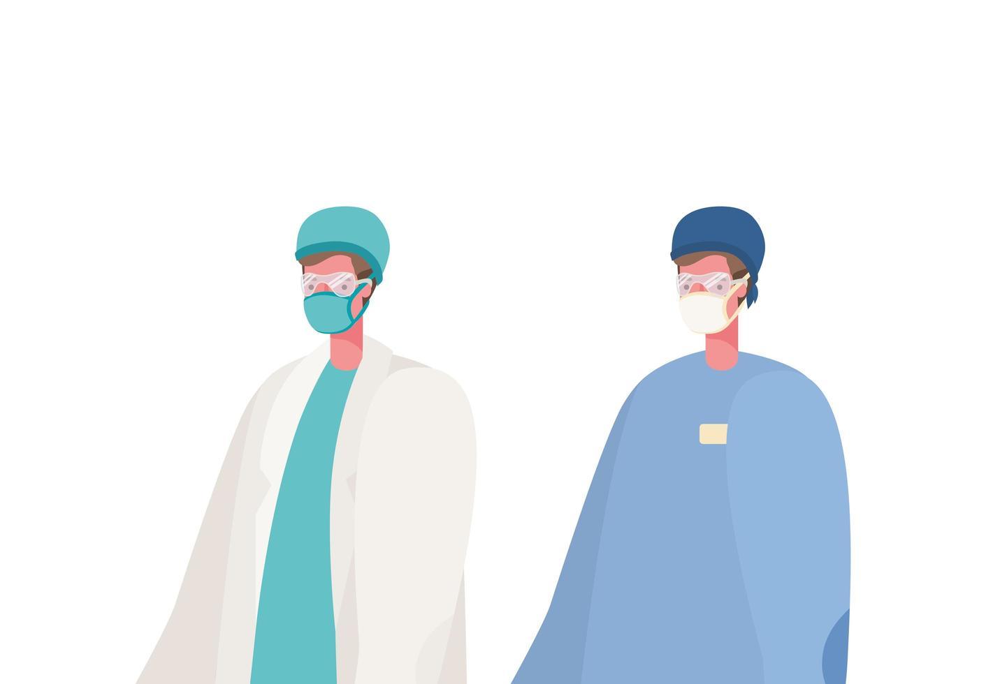 geïsoleerde mannelijke artsen met maskers vector ontwerp
