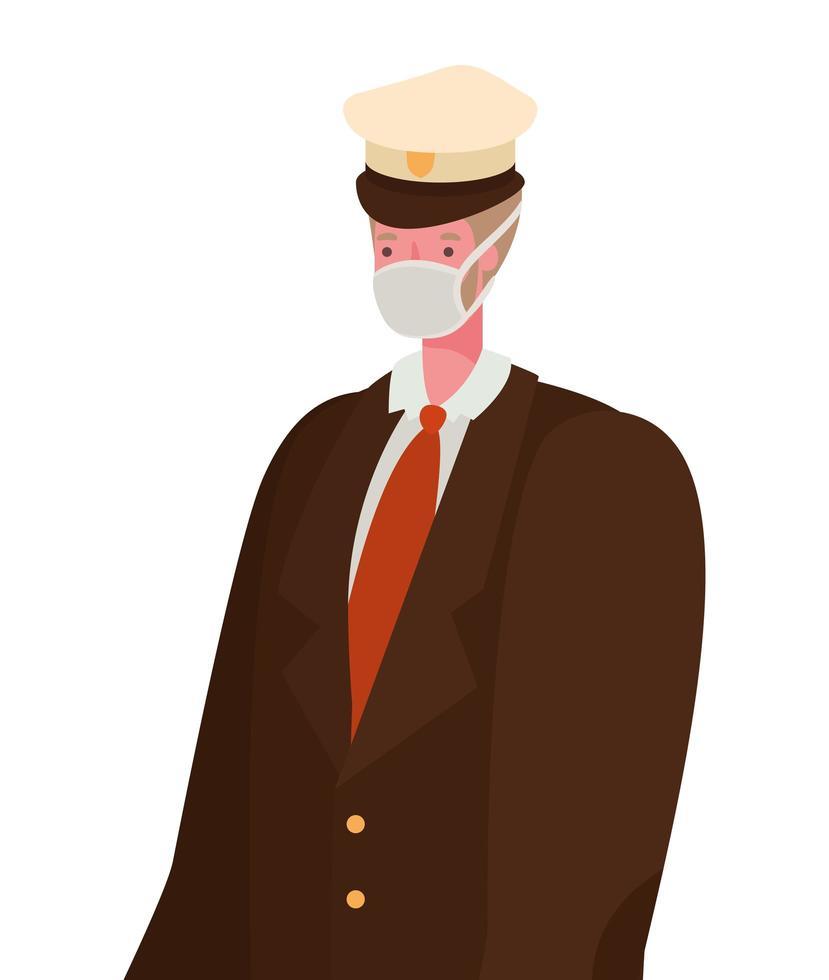mannelijke kapitein met masker vector ontwerp