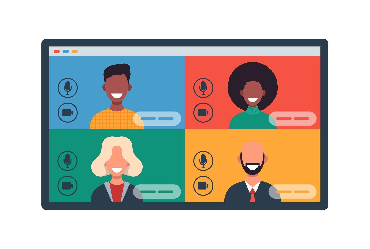 webvensters met verschillende mensen die chatten via videoconferentie op tablet. lachende mannen en vrouwen werken en communiceren op afstand. teamvergadering vectorillustratie in plat ontwerp vector