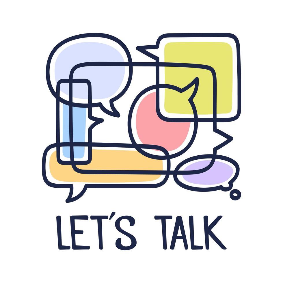 vector illustratie dialoogvenster tekstballonnen met pictogrammen en tekst laten we praten op een witte achtergrond. veiligheid communicatie technologie concept. dunne lijntekeningen plat ontwerp van mobiele technologie