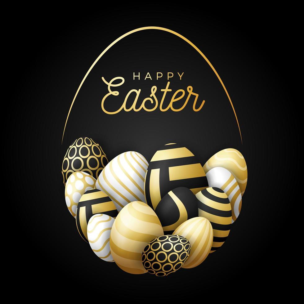 luxe gelukkige paaskaart met eieren. veel mooie gouden realistische eieren zijn neergelegd in de vorm van een groot ei. vectorillustratie voor Pasen op zwarte achtergrond. vector