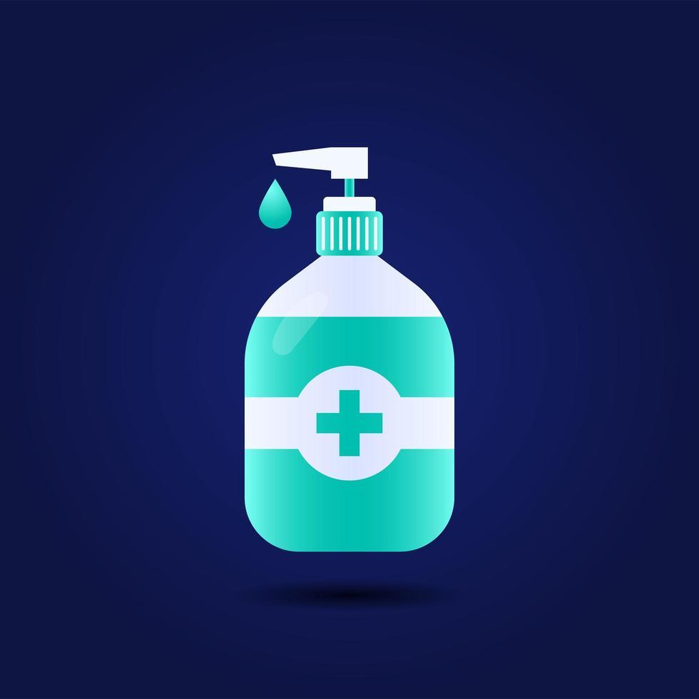 handdesinfecterend middel fles geïsoleerd met pomp. wasalcoholgel gebruikt tegen virussen, bacteriën, griep, coronavirus. waterloze handreiniger. handen wassen vectorillustratie, plat ontwerp vector