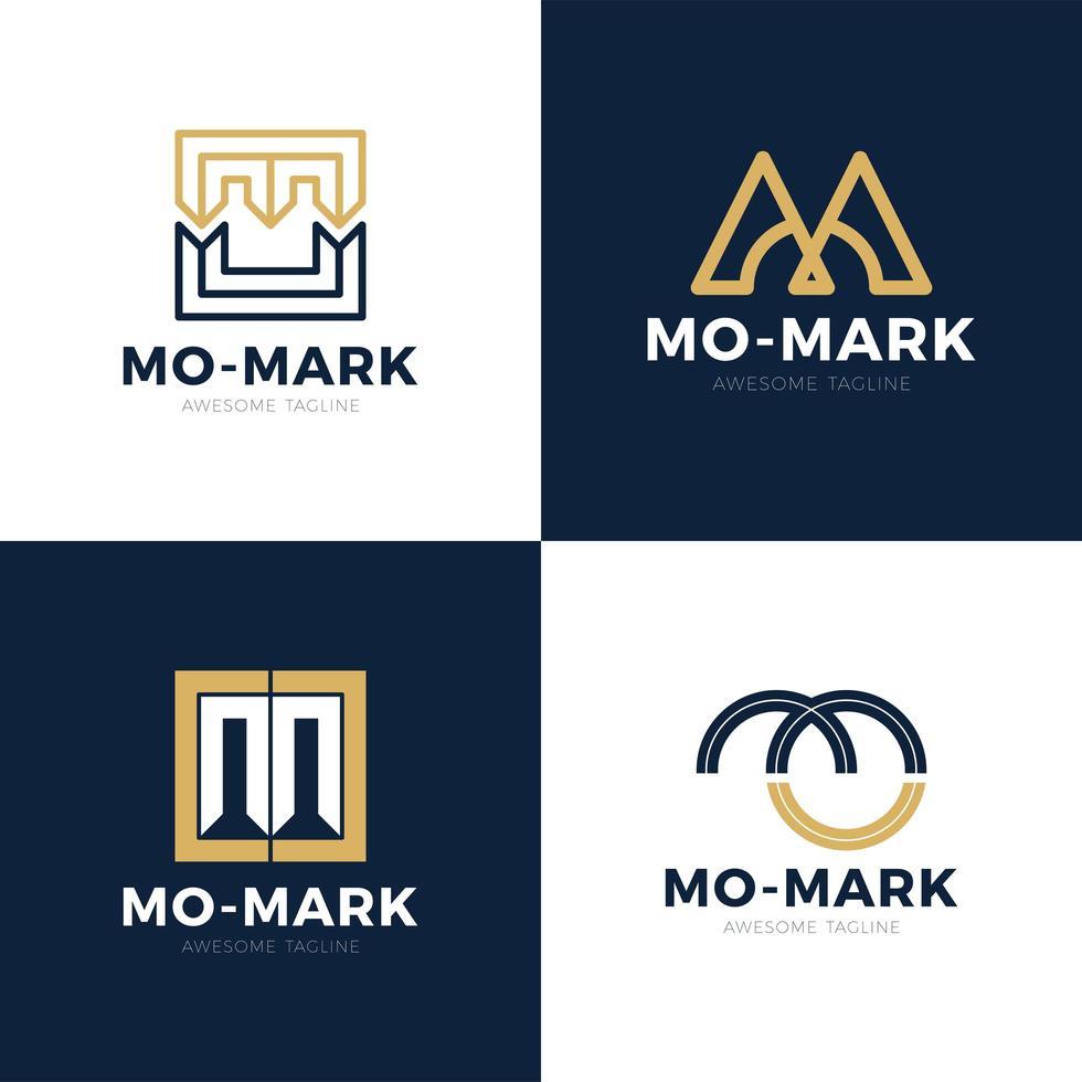 unieke moderne creatieve elegante artistieke zwart en goud kleur mo om mo initiaal gebaseerde letter pictogram logo set vector