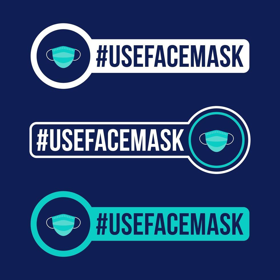 gebruik gezichtsmasker preventie van covid-19 pictogram sticker vectorillustratie. coronavirus bescherming badge met platte cirkel pictogram. vector
