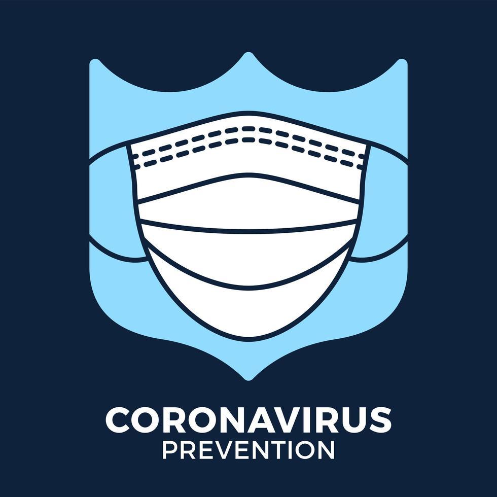 banner gezichtsmasker in schild pictogram preventie coronavirus. concept bescherming covid-19 teken vector illustratie. covid-19 preventie ontwerp achtergrond.