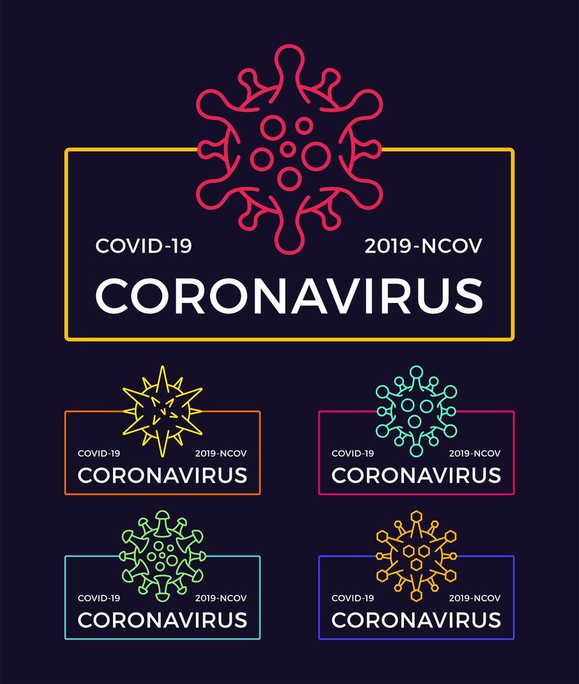 set coronavirus pandemische badges. gezondheid en medische vector illustratie. covid-19-virusuitbraak verspreid. stop het ontwerpconcept van het coronavirus t-shirt.