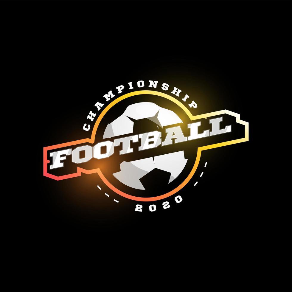 voetbal of voetbal moderne professionele sport typografie in retro stijl. vector ontwerp embleem, badge en sportief sjabloonlogo-ontwerp