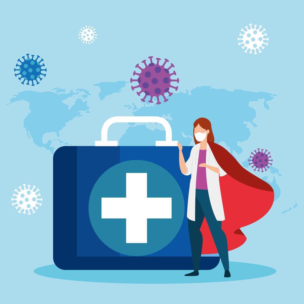 super dokter met heldenmantel en EHBO-doos vector
