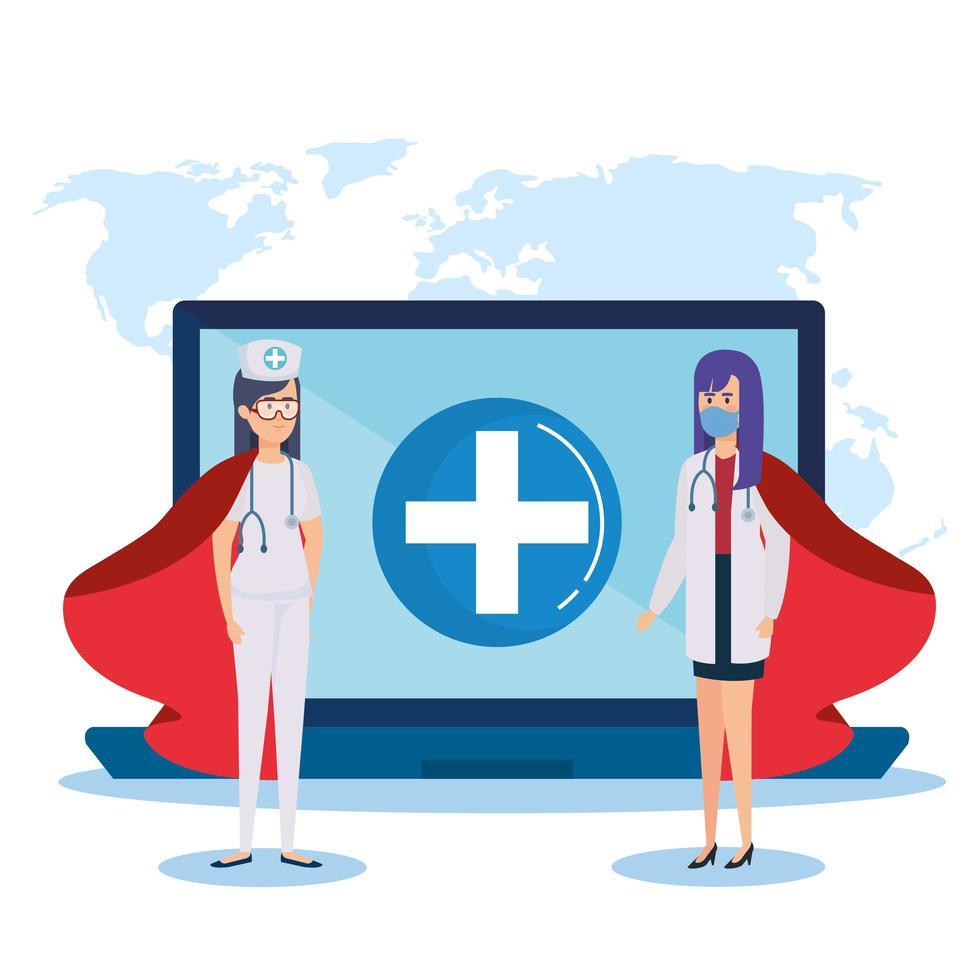 superdokters met heldinnencapes en laptop vector