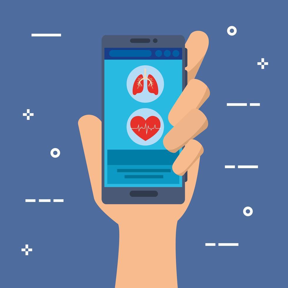 hand met smartphone voor online geneeskunde vector