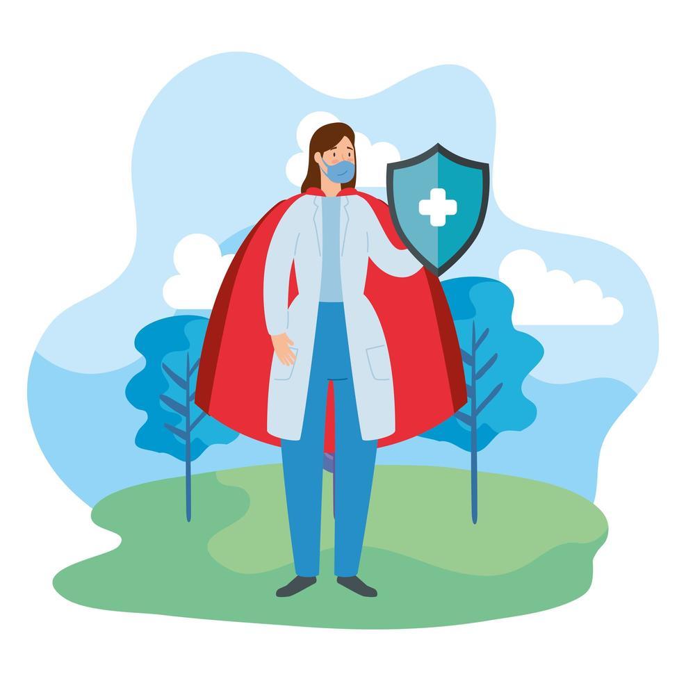 super dokter met heldin mantel en schild vector