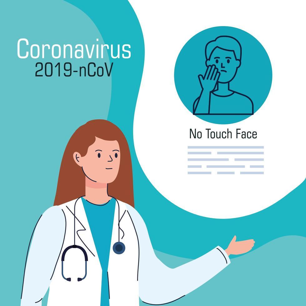 coronaviruspreventiebanner met arts vector