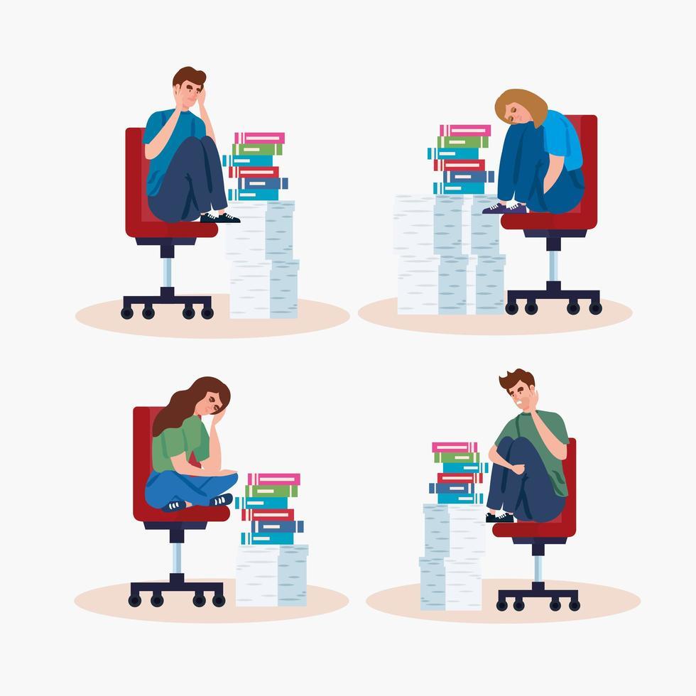 mensen die op stoelen zitten met een stressaanval en stapels documenten vector
