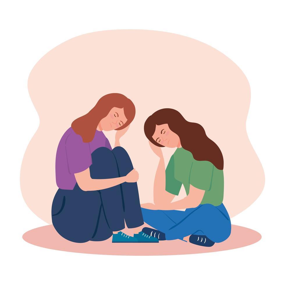 vrouwen die op de grond zitten met stress en depressie vector