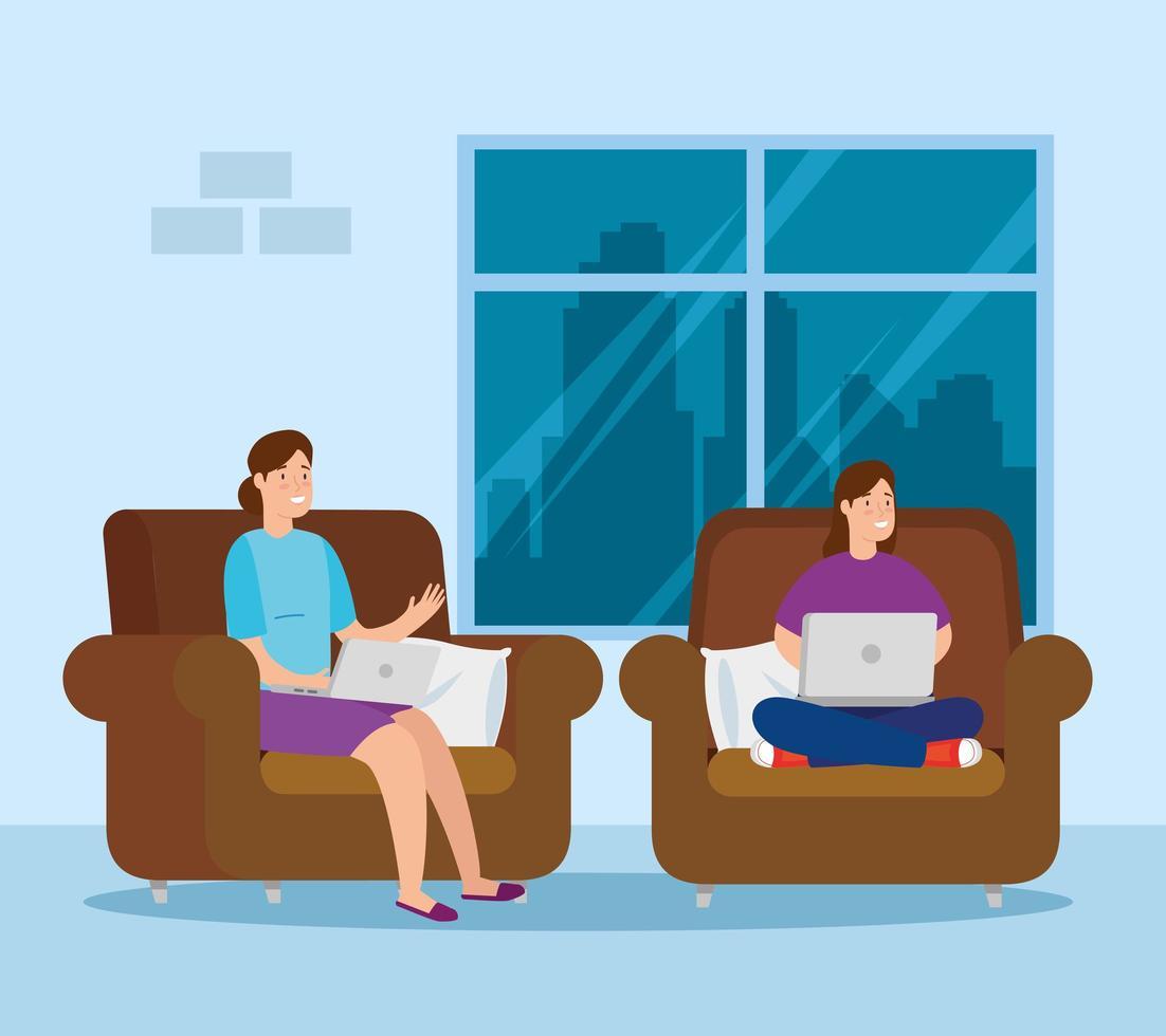 vrouwen die binnenshuis met hun laptops werken vector