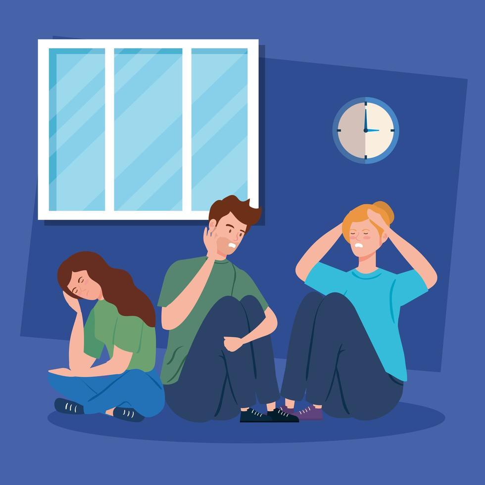 mensen die op de grond zitten met stress en depressie vector