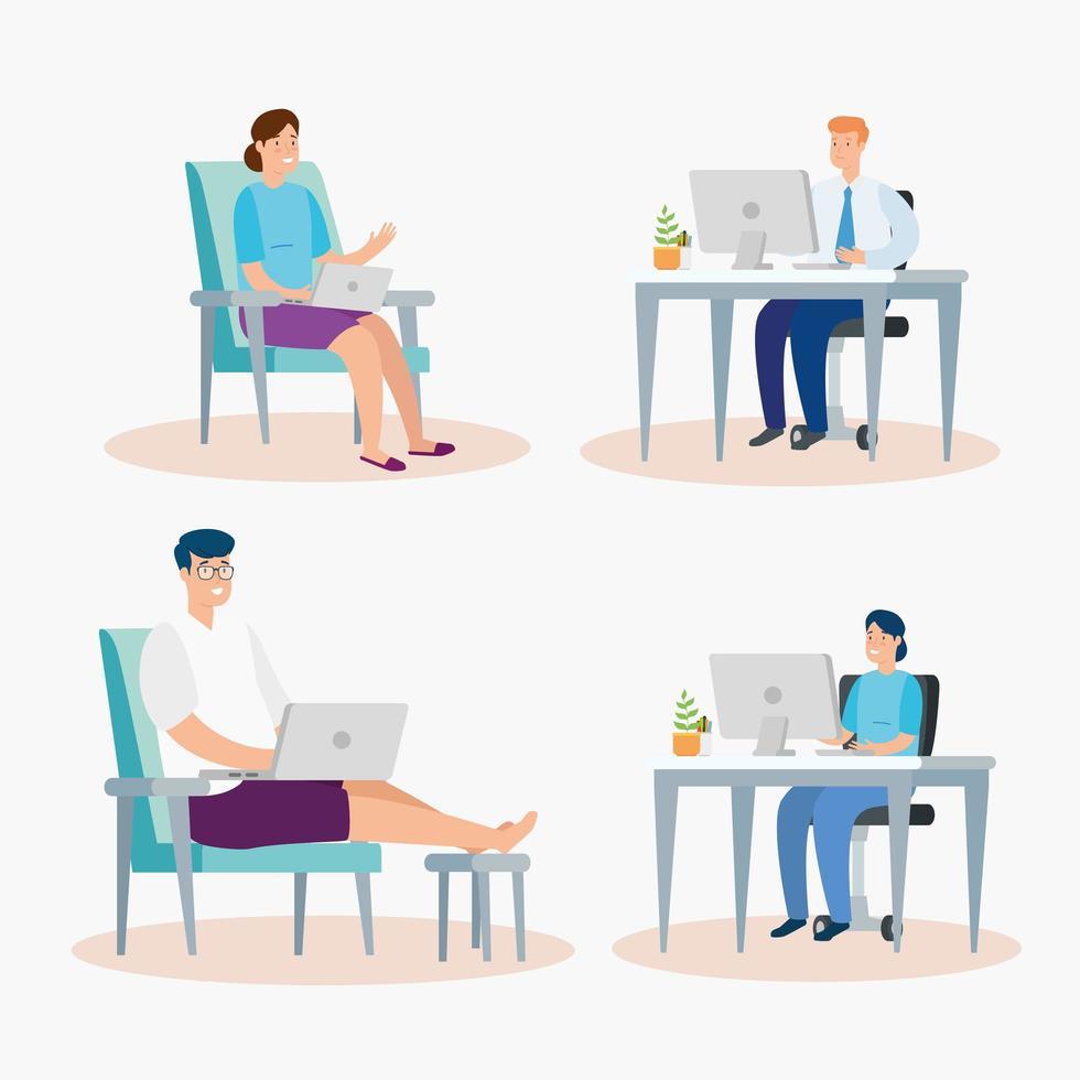 mensen zitten op stoelen met laptops vector