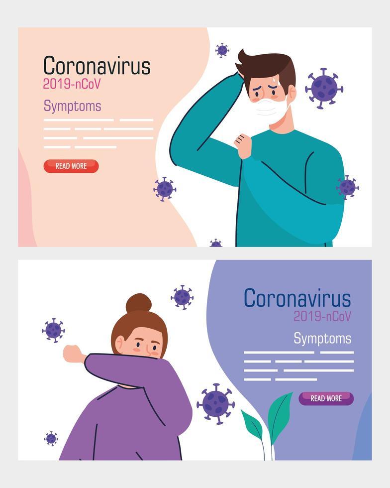 mensen met coronavirus symptomen banner set vector