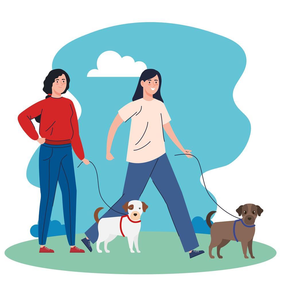 mensen die de honden buiten lopen vector