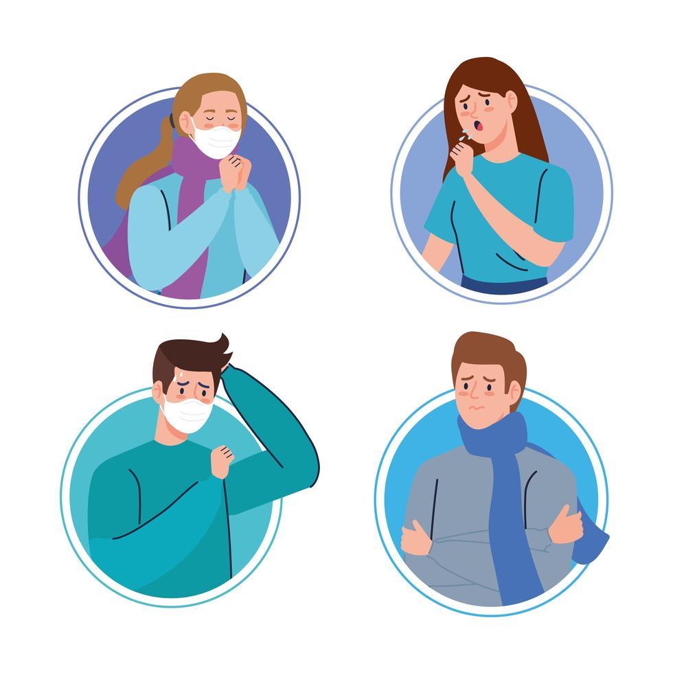 mensen met coronavirus-symptomen vector