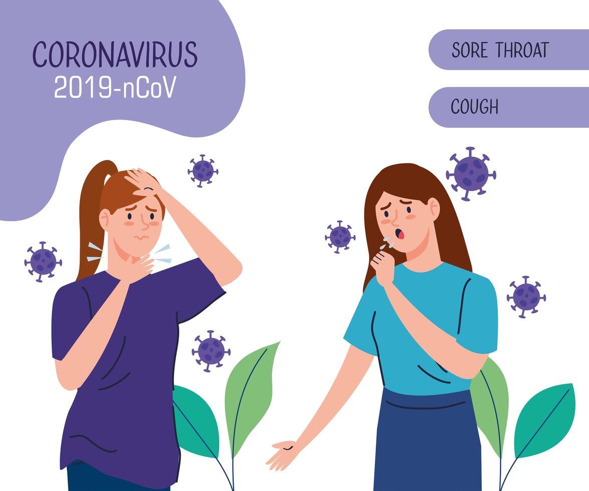 mensen met coronavirus symptomen banner vector