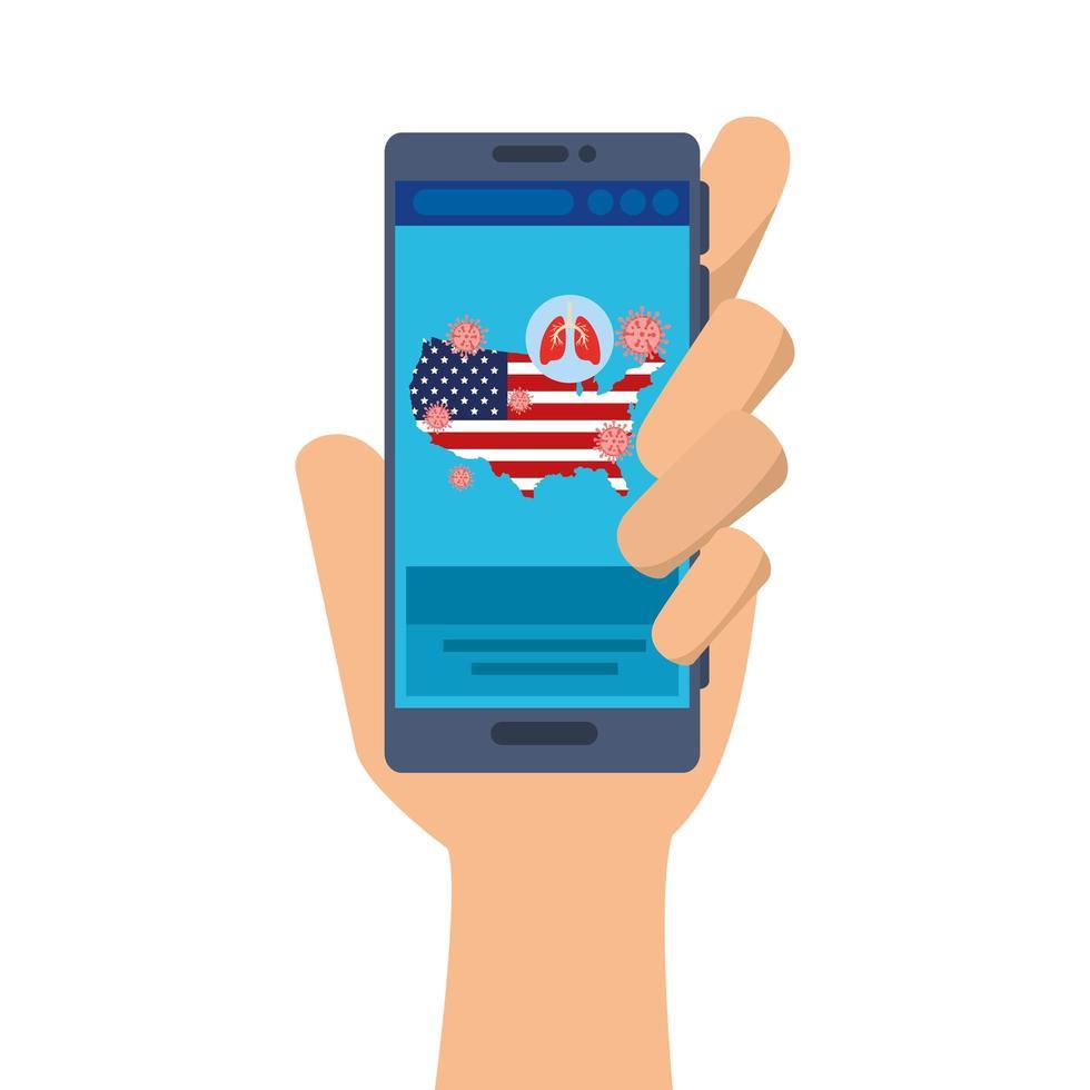 online geneeskunde voor coronavirus met kaart van de VS op smartphone vector