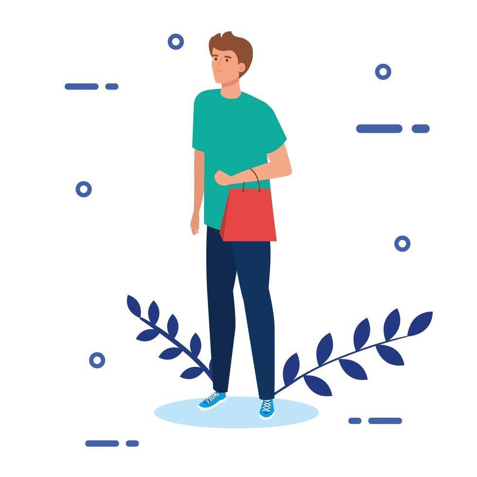 jonge man met boodschappentas en bladeren decoratie vector