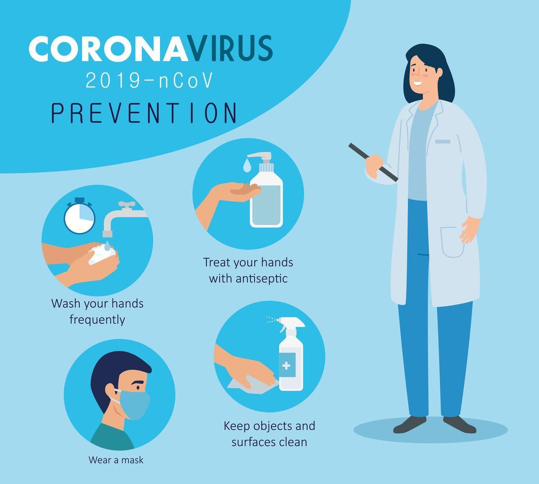 coronaviruspreventiebanner met arts en pictogrammen vector