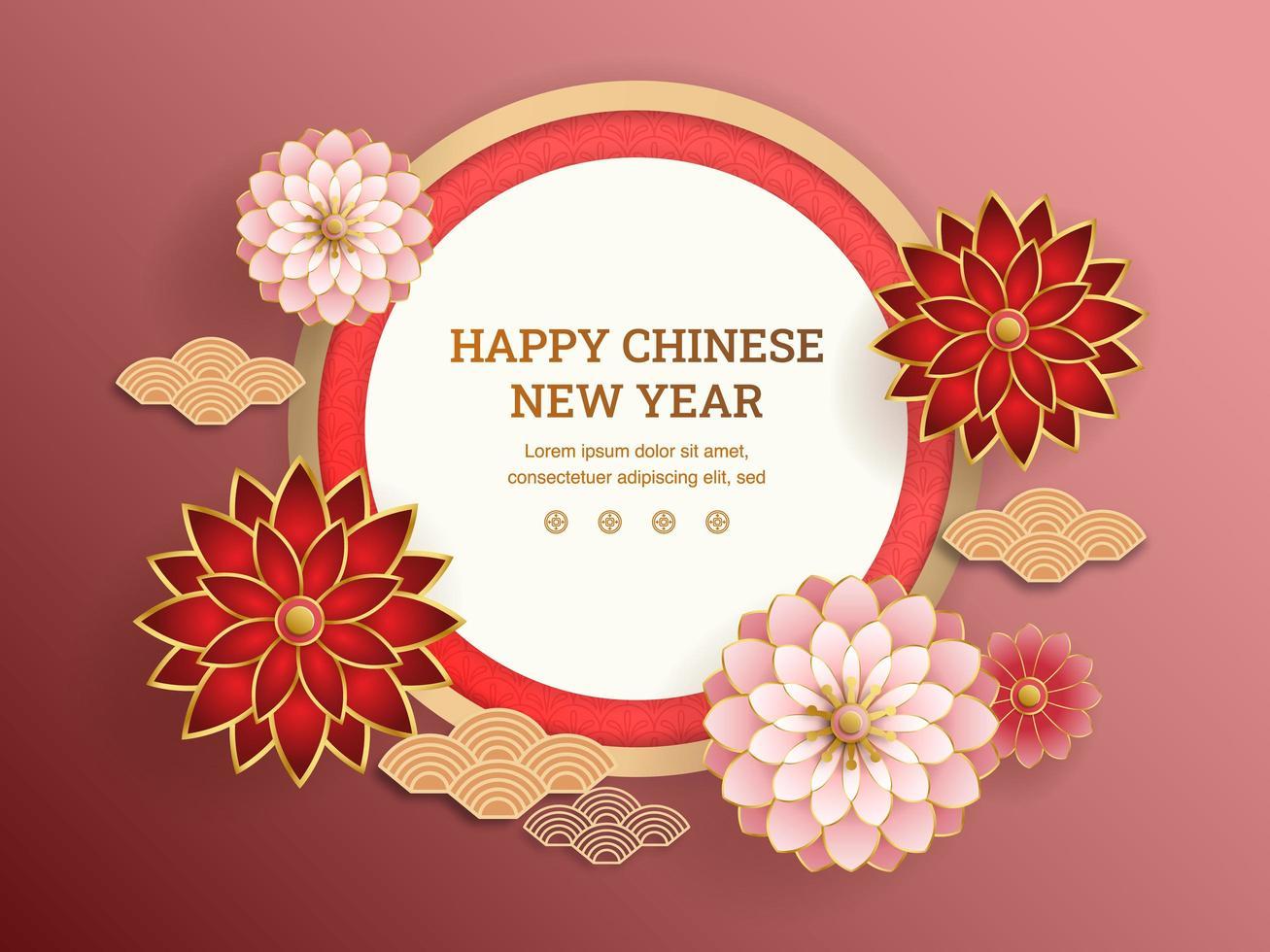 rode en roze bloemen met chinese abstracte achtergrond vector