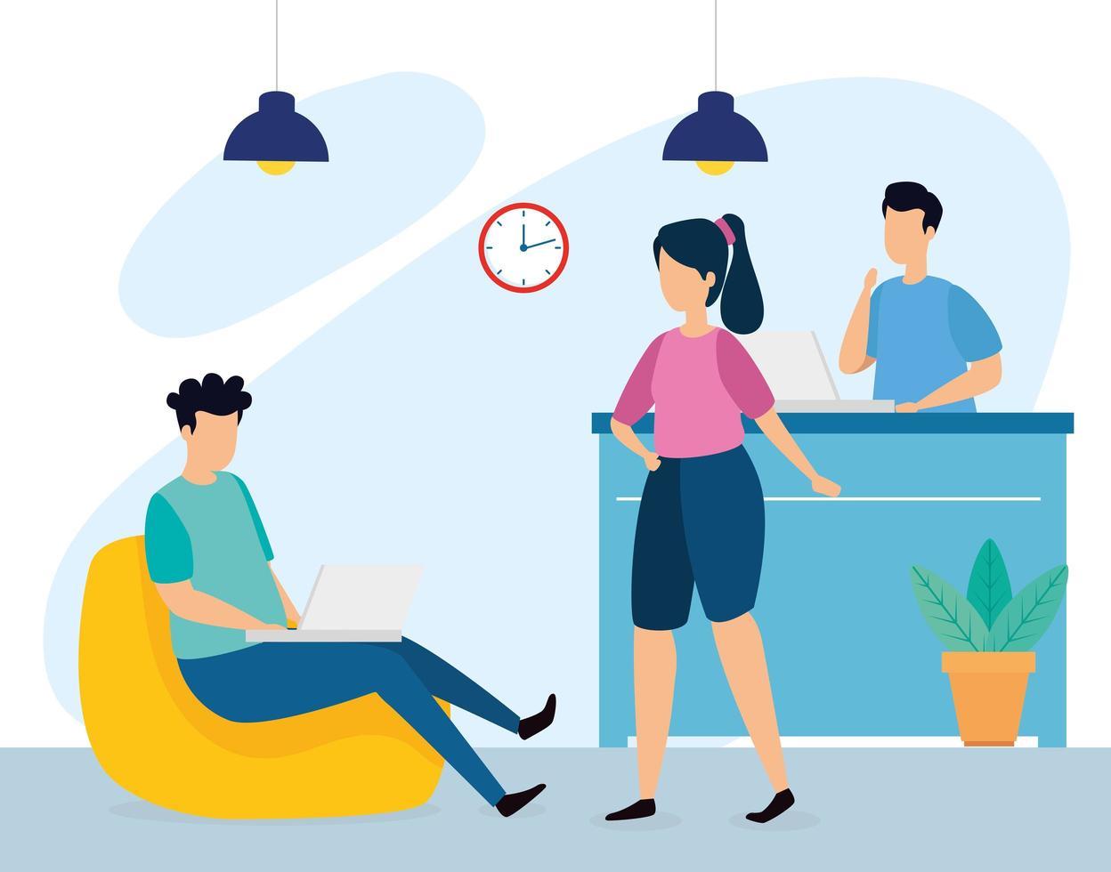 scène van coworking met jonge mensen op kantoor vector