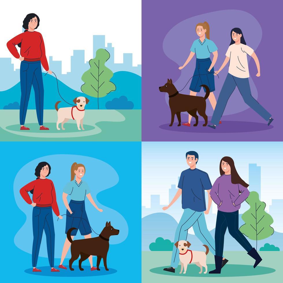 scènes van mensen die hun honden uitlaten vector