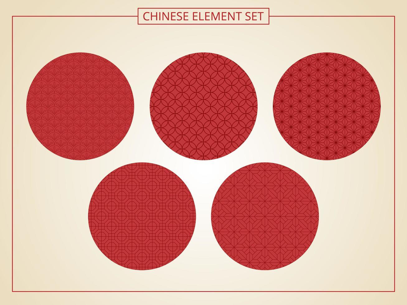 chinees naadloos patroon in 5 stijlen vector