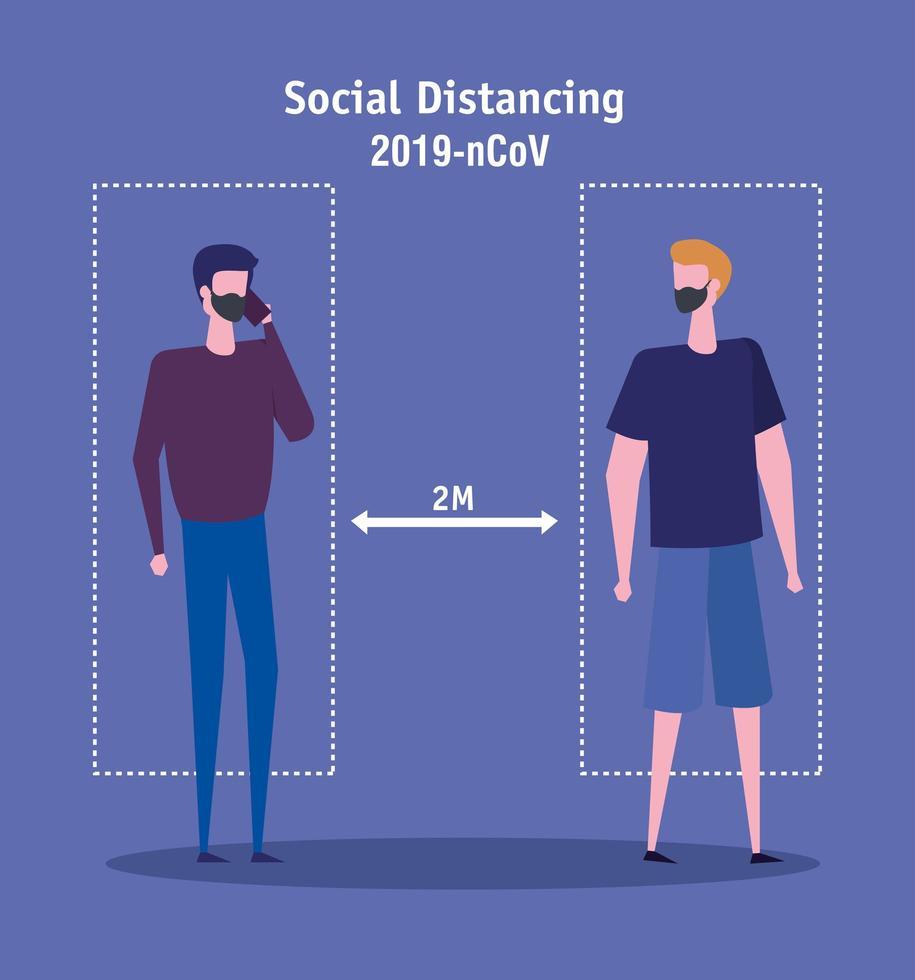 campagne voor het sociaal distantiëren van covid-19 met mannen vector