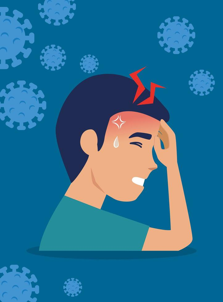 man met hoofdpijn en coronavirus-symptomen vector