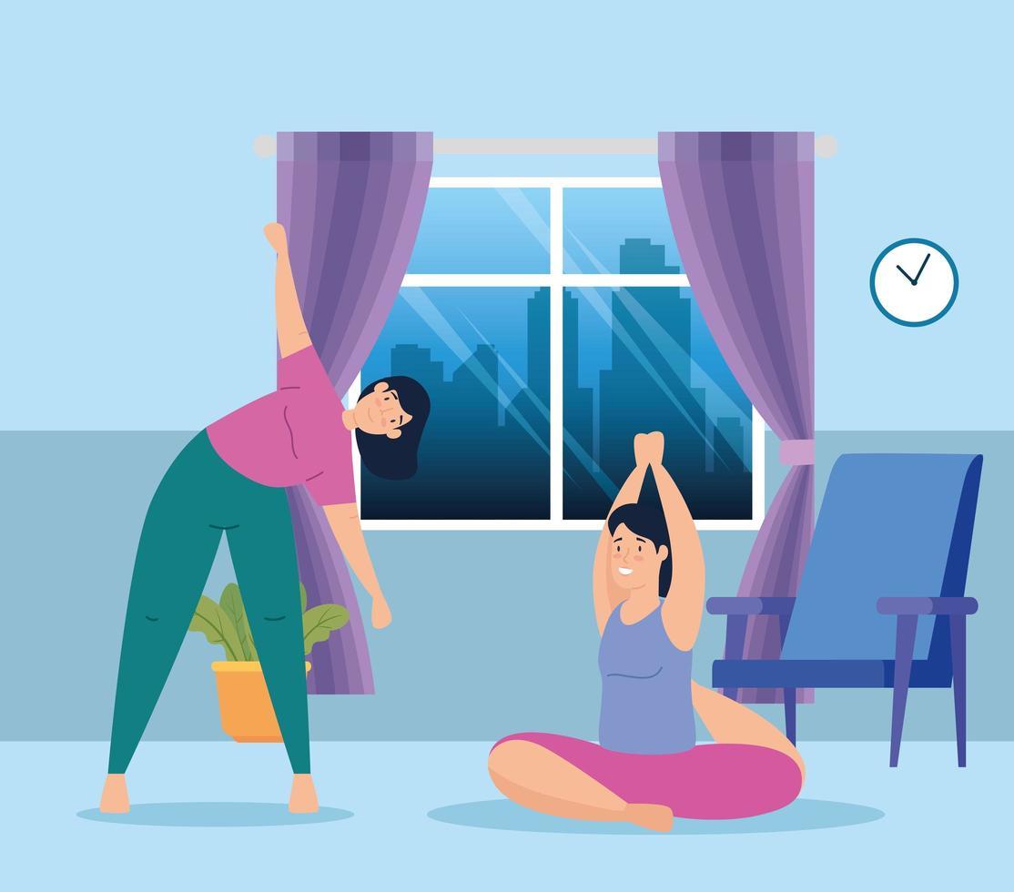 vrouwen die thuis yoga uitoefenen en doen vector